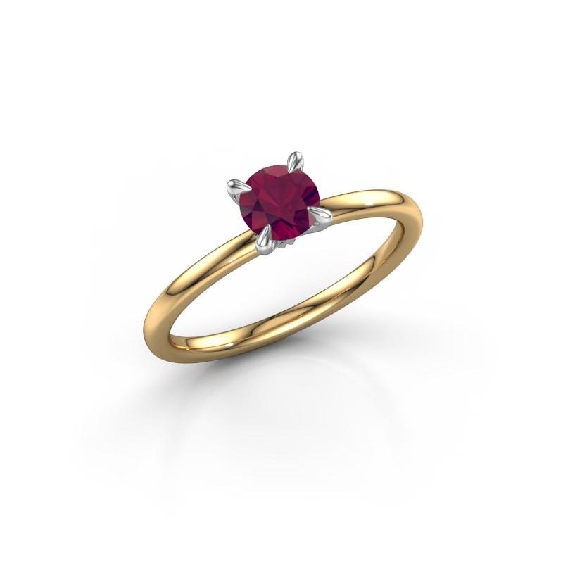Verlovingsring Crystal RND 1 585 goud rhodoliet 5 mm