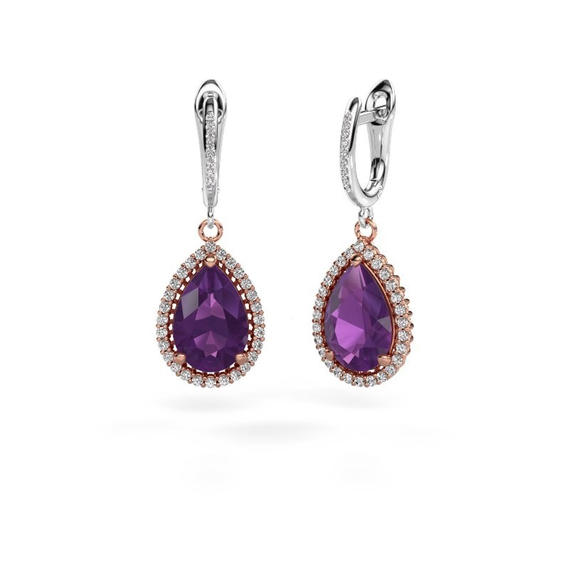 Drop earrings Hana 2 585 rose gold amethyst 12x8 mm