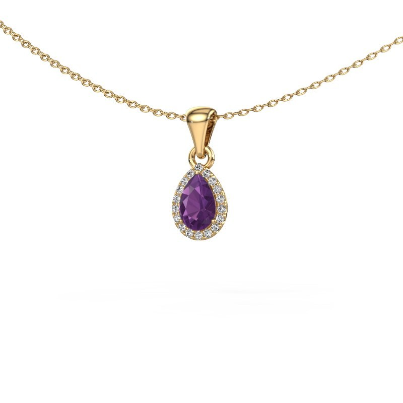 Halskette Seline per 375 Gold Amethyst 6x4 mm