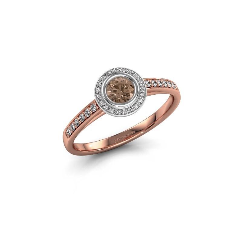 Verlovingsring Noud 2 RND 585 rosé goud bruine diamant 0.39 crt