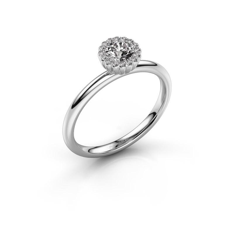 Verlovingsring Queen 585 witgoud diamant 0.38 crt