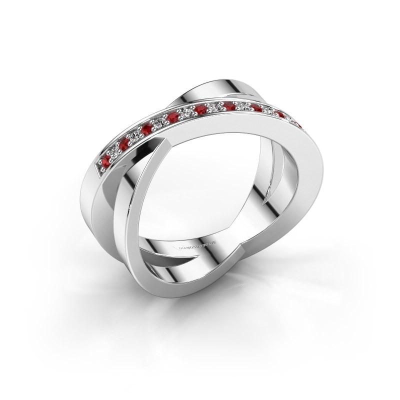 Ring Julie 925 zilver robijn 1.2 mm