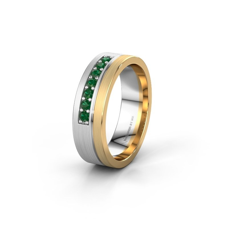 Trouwring WH0312L16AM 585 witgoud smaragd ±6x1.7 mm