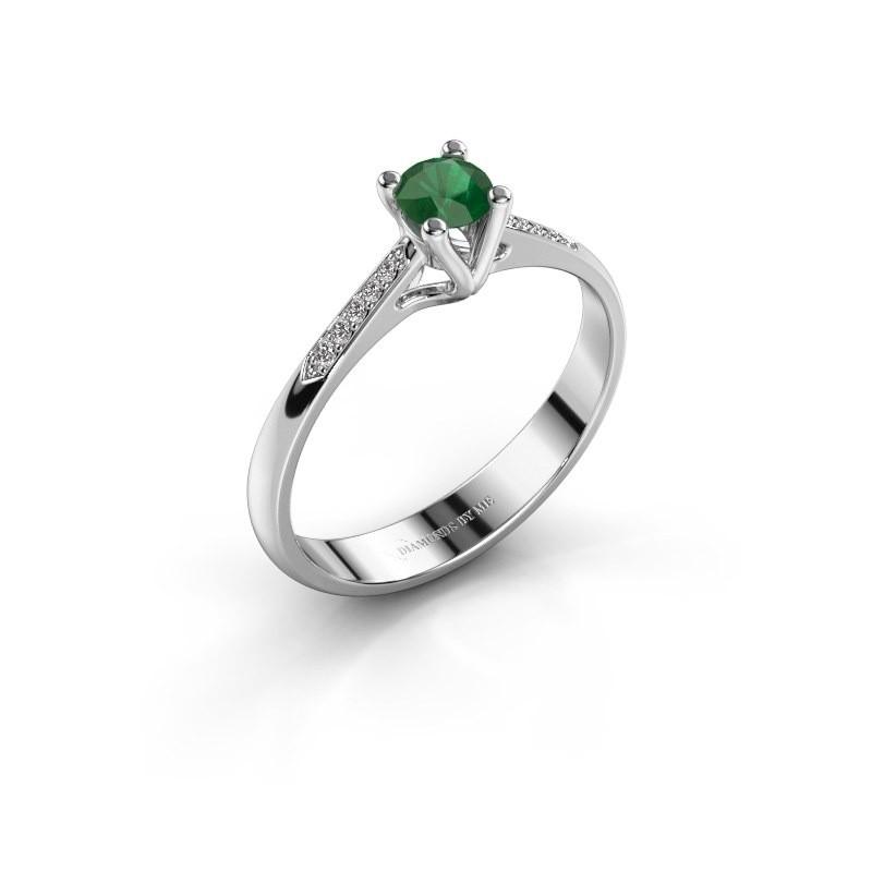 Promise ring Janna 2 950 platina smaragd 4 mm