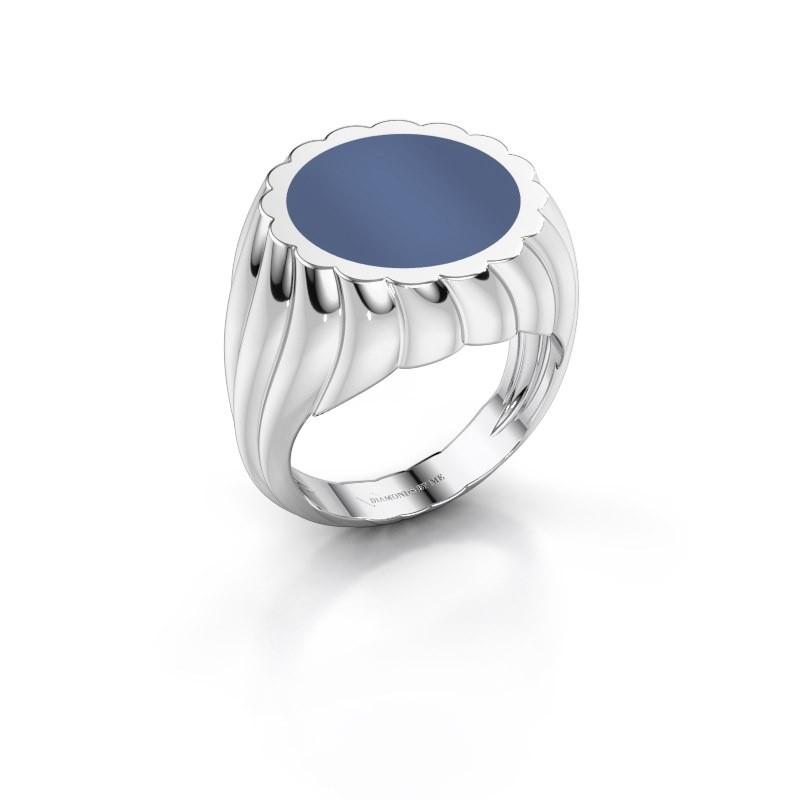 Zegelring Mano 375 witgoud blauw lagensteen 13 mm