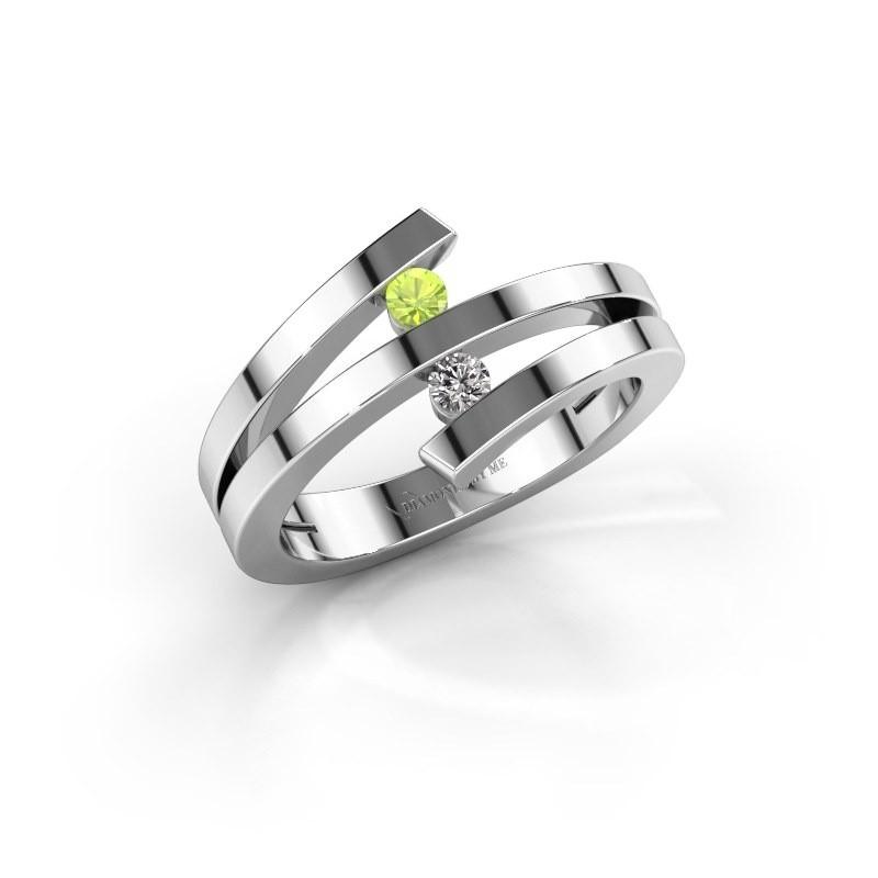 Ring Synthia 950 platina peridoot 2.5 mm
