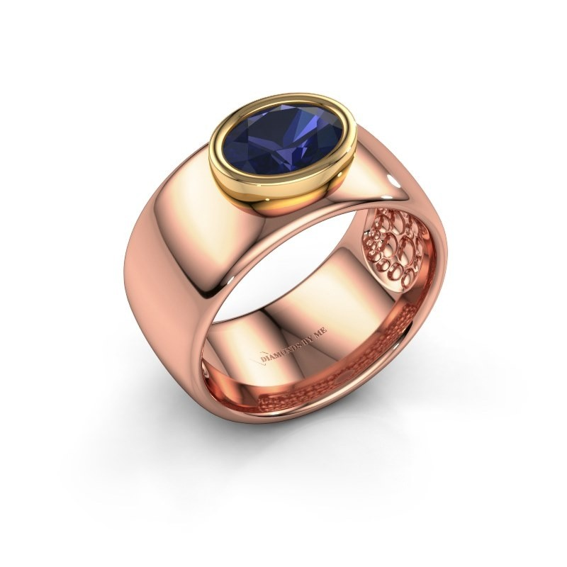 Ring Anouschka 585 Roségold Saphir 8x6 mm