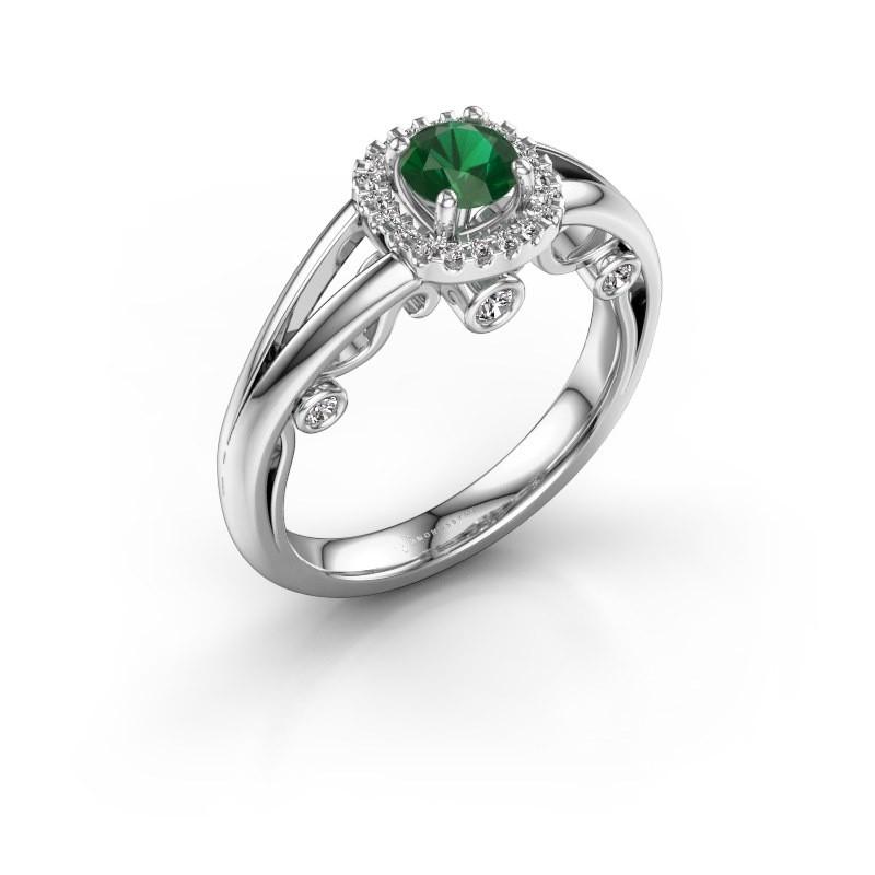 Verlovingsring Carina 585 witgoud smaragd 4.7 mm