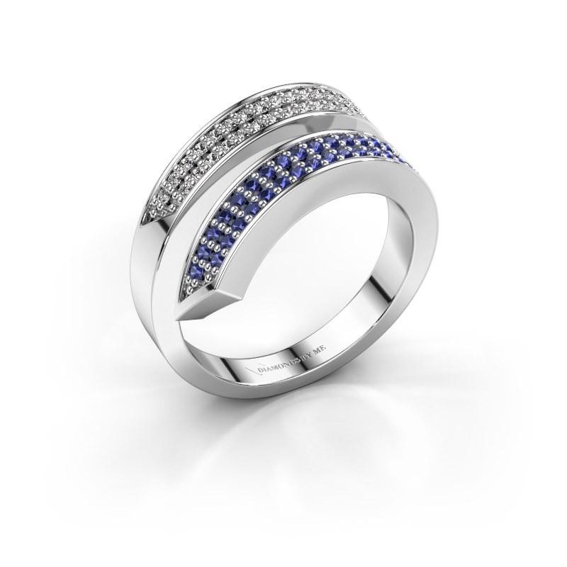 Ring Pien 585 witgoud saffier 1.2 mm