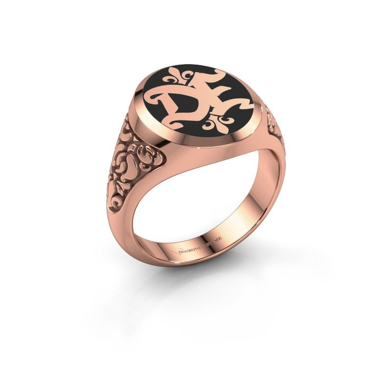Enamel Solid Rose Gold Brian Emaille Monogram Ring Start Customizing