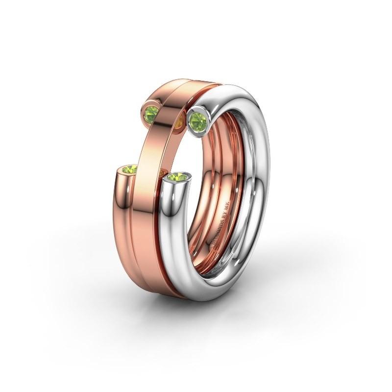 Wedding ring WH6018L 585 white gold peridot ±8x3 mm