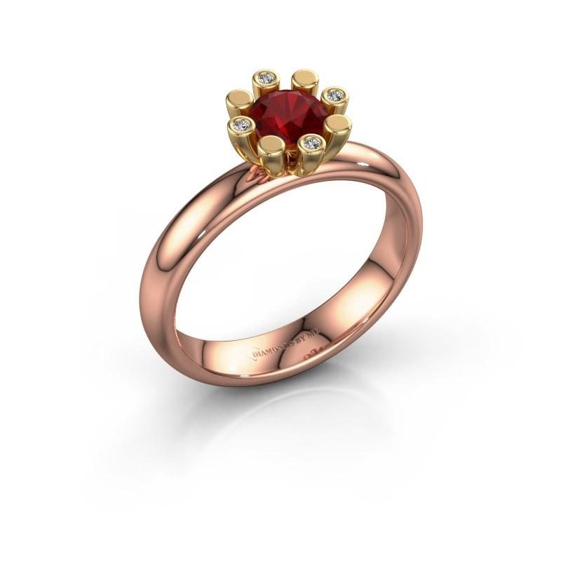 Stapelring Carola 2 585 rosé goud robijn 5 mm
