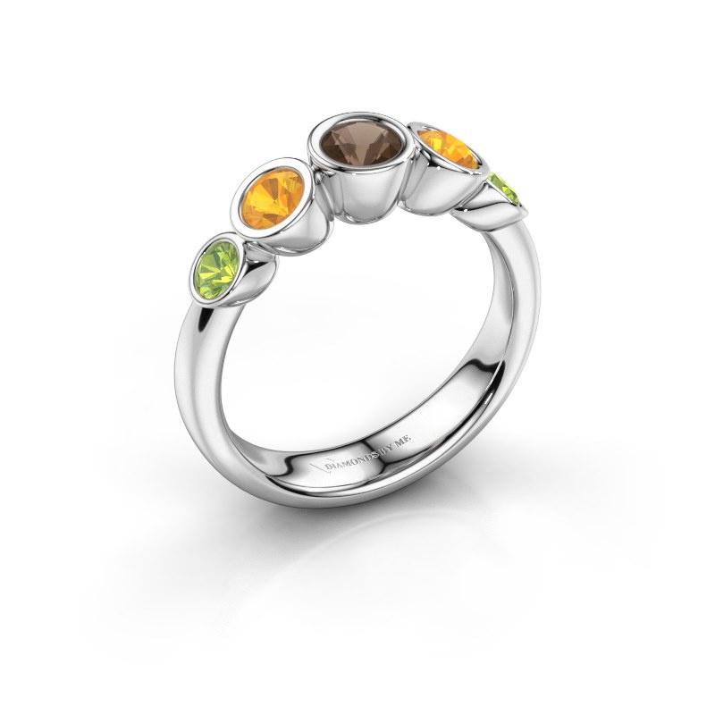 Ring Lizz 925 silver smokey quartz 4 mm