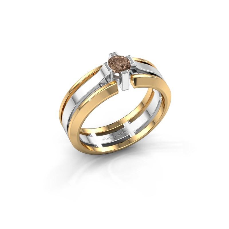 Herrenring Sem 585 Weißgold Braun Diamant 0.40 crt