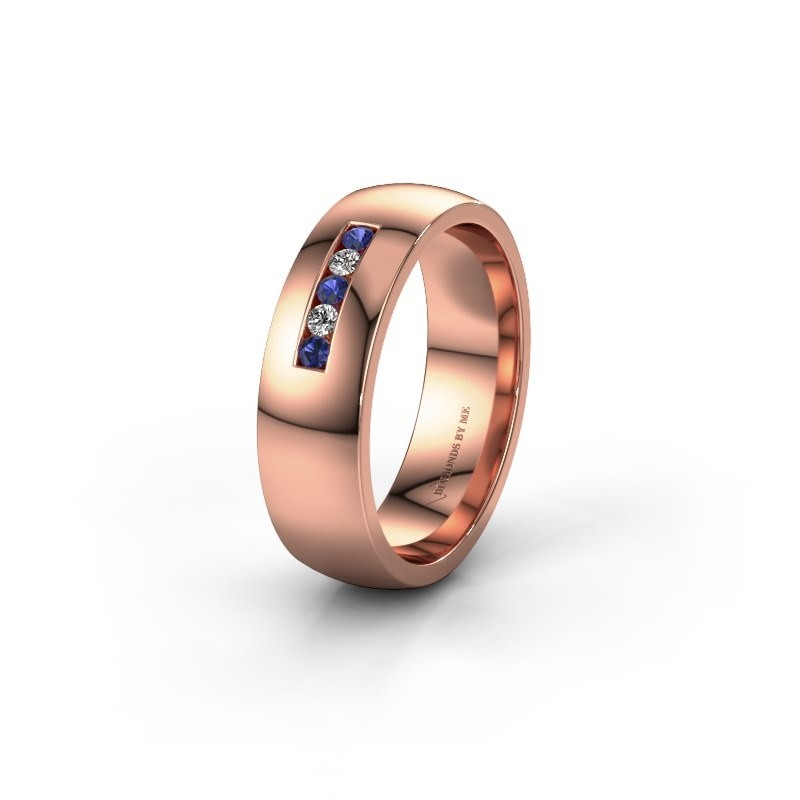 Wedding ring WH0107L26BP 375 rose gold sapphire ±0.24x0.08 in