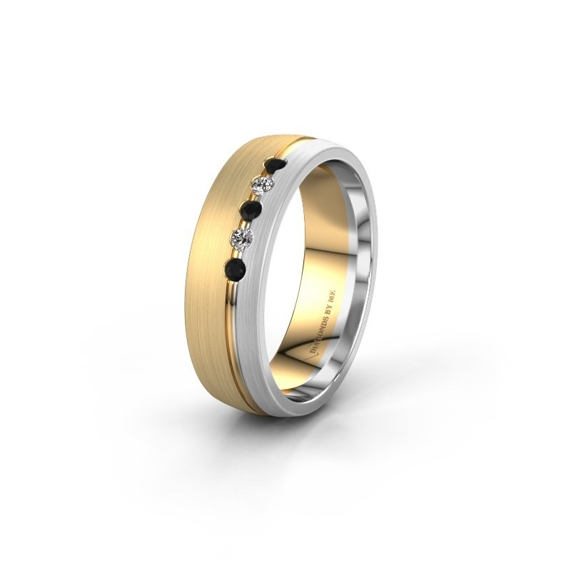Trouwring WH0323L25AM 585 goud zwarte diamant ±6x1.7 mm