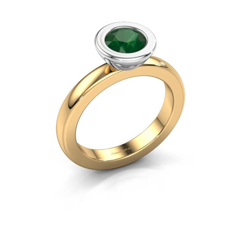 Stapelring Eloise Round 585 goud smaragd 6 mm