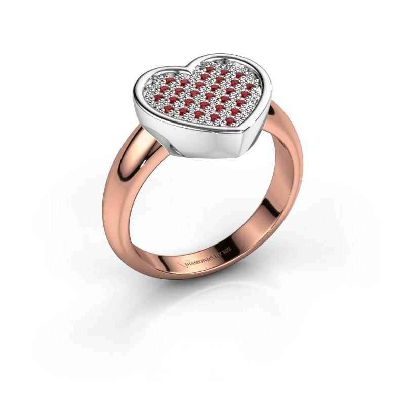 Ring Veerle 585 rosé goud robijn 1 mm