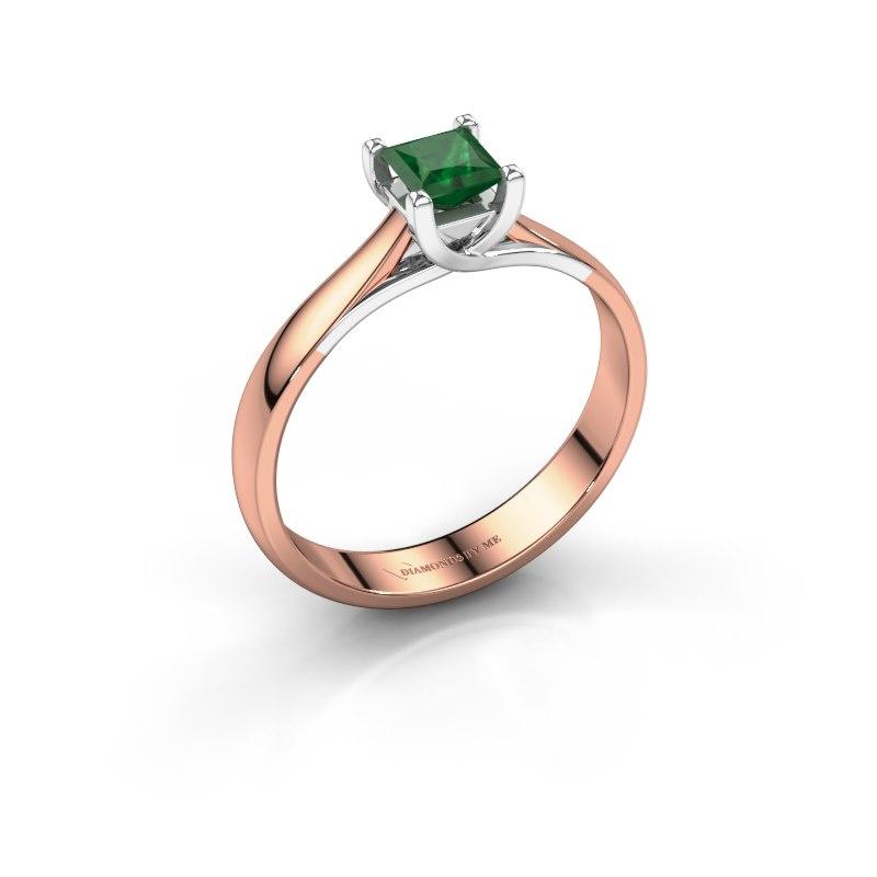 Verlobungsring Mia Square 585 Roségold Smaragd 4 mm