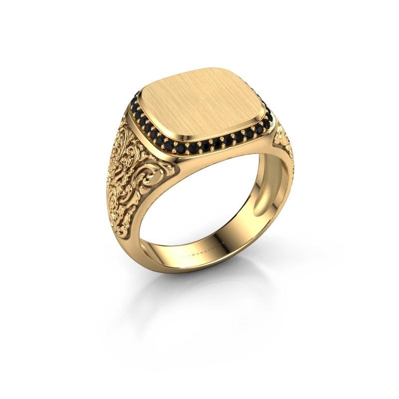 Heren ring Jesse 2 585 goud zwarte diamant 0.306 crt