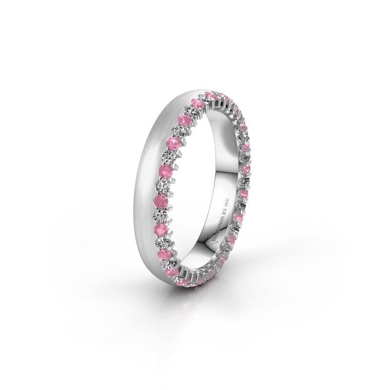 Trouwring WH2138L24B 585 witgoud roze saffier ±4x2 mm