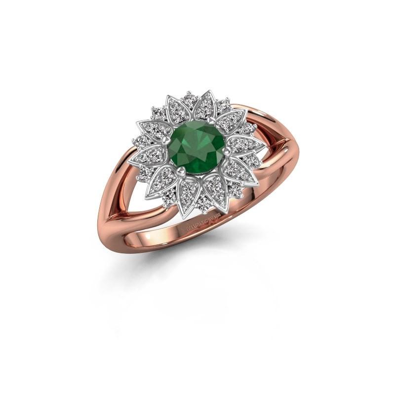 Verlovingsring Chasidy 1 585 rosé goud smaragd 5 mm