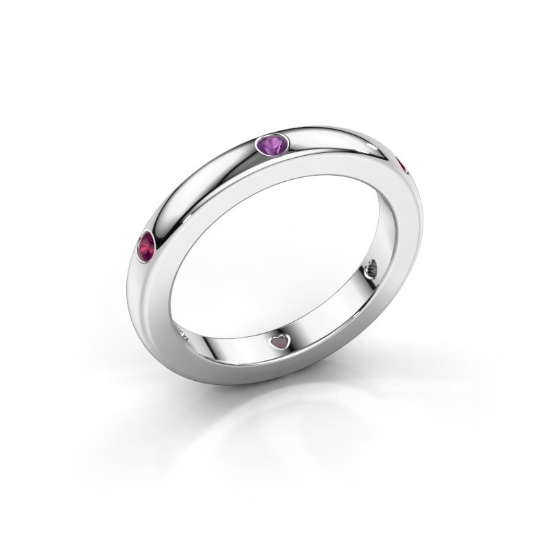 Stackable ring Charla 375 white gold amethyst 2 mm