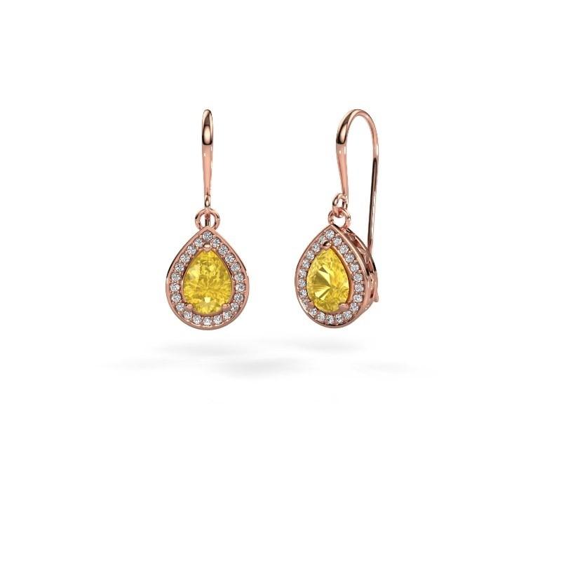 Drop earrings Beverlee 1 375 rose gold yellow sapphire 7x5 mm