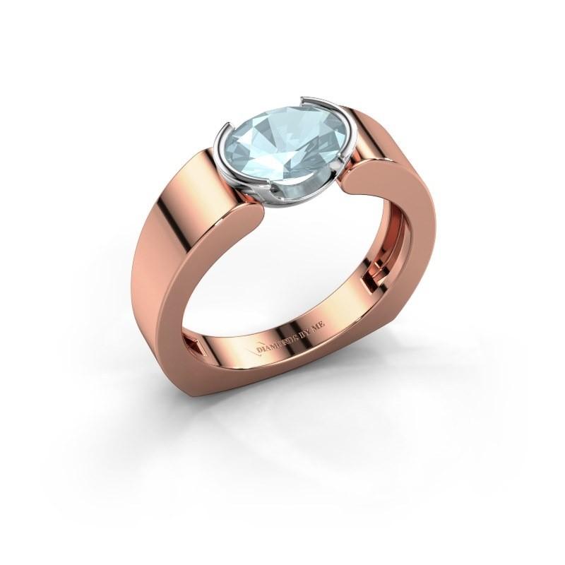 Ring Tonya 585 rosé goud aquamarijn 8x6 mm