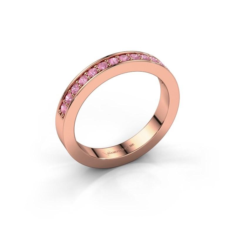 Aanschuifring Loes 6 375 rosé goud roze saffier 1.7 mm