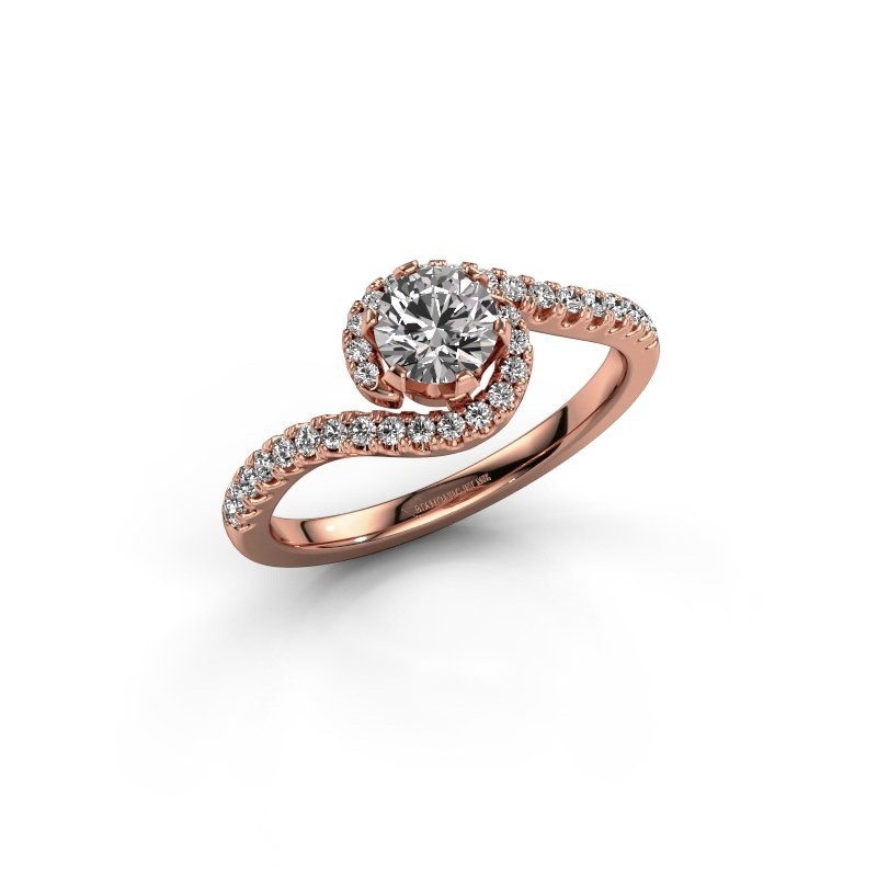 Engagement ring Elli 375 rose gold zirconia 5 mm