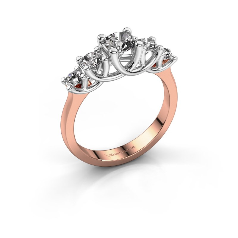 Bague de fiançailles Jet 585 or rose diamant 1.00 crt