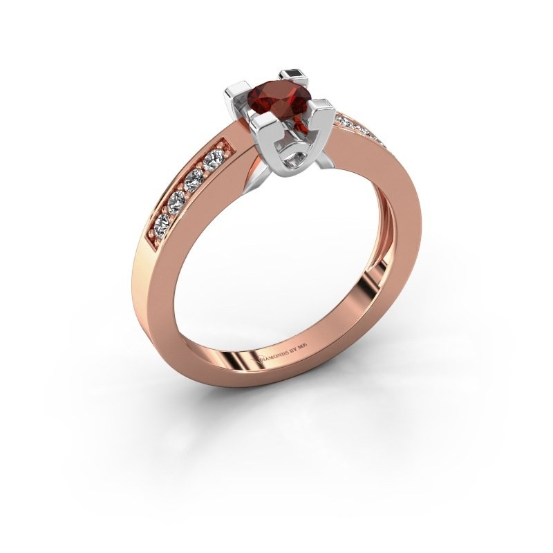 Verlovingsring Nina 2 585 rosé goud granaat 4.2 mm