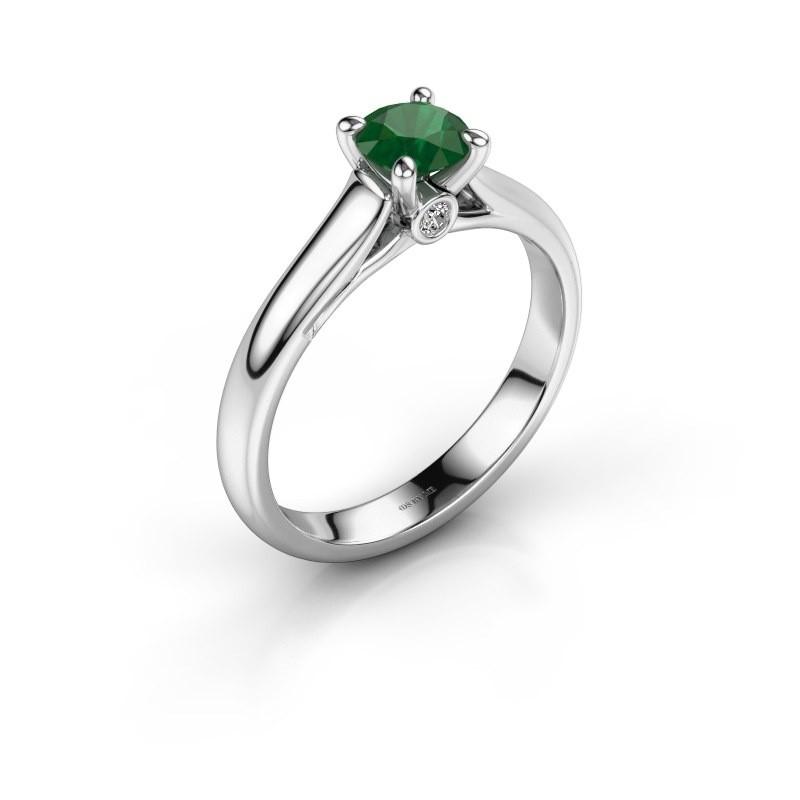 Verlovingsring Valorie 1 585 witgoud smaragd 5 mm