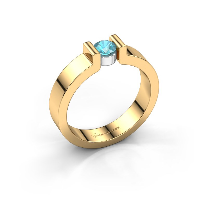 Verlovingsring Isabel 1 585 goud blauw topaas 4 mm