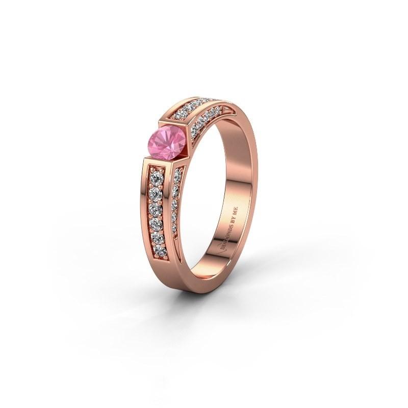 Trouwring WH2098L 375 rosé goud roze saffier ±4x3 mm