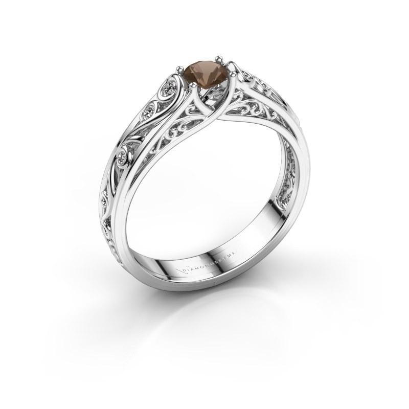 Ring Quinty 950 platina rookkwarts 4 mm