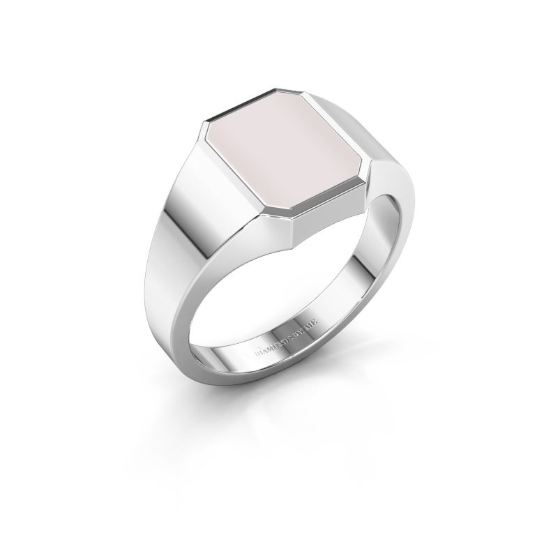 Signet ring Glenn 1 375 white gold red sardonyx 10x8 mm