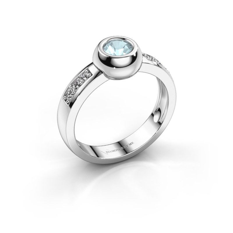 Ring Charlotte Round 585 witgoud aquamarijn 4.7 mm