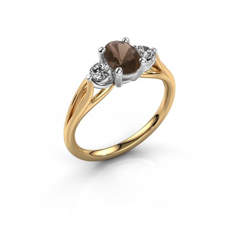 Verlovingsring Amie OVL 585 goud rookkwarts 7x5 mm