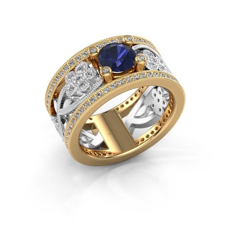 Ring Severine 585 goud saffier 6 mm