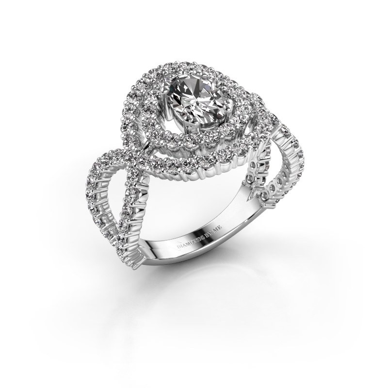 Ring Chau 585 witgoud zirkonia 7x5 mm