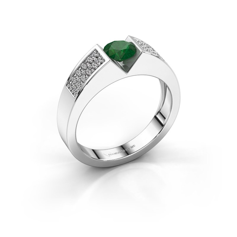 Engagement ring Lizzy 3 585 white gold emerald 5 mm