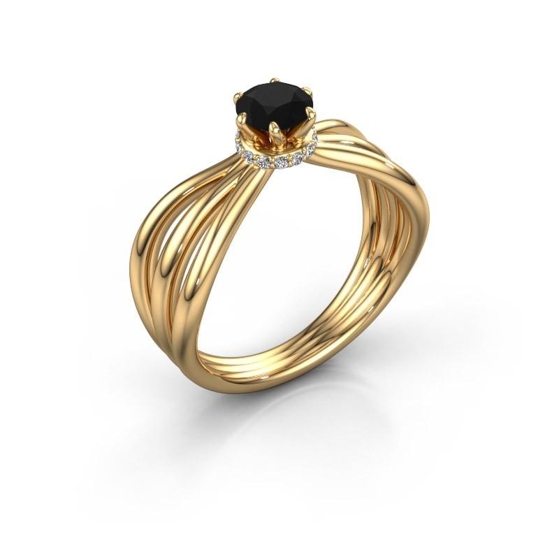 Bague de fiançailles Kimi 375 or jaune diamant noir 0.60 crt