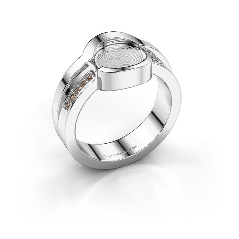 Ring Leander 925 silver brown diamond 0.025 crt