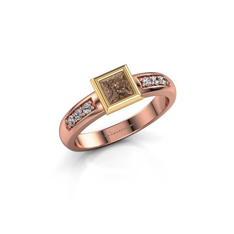 Stacking ring Lieke Square 585 rose gold brown diamond 0.52 crt
