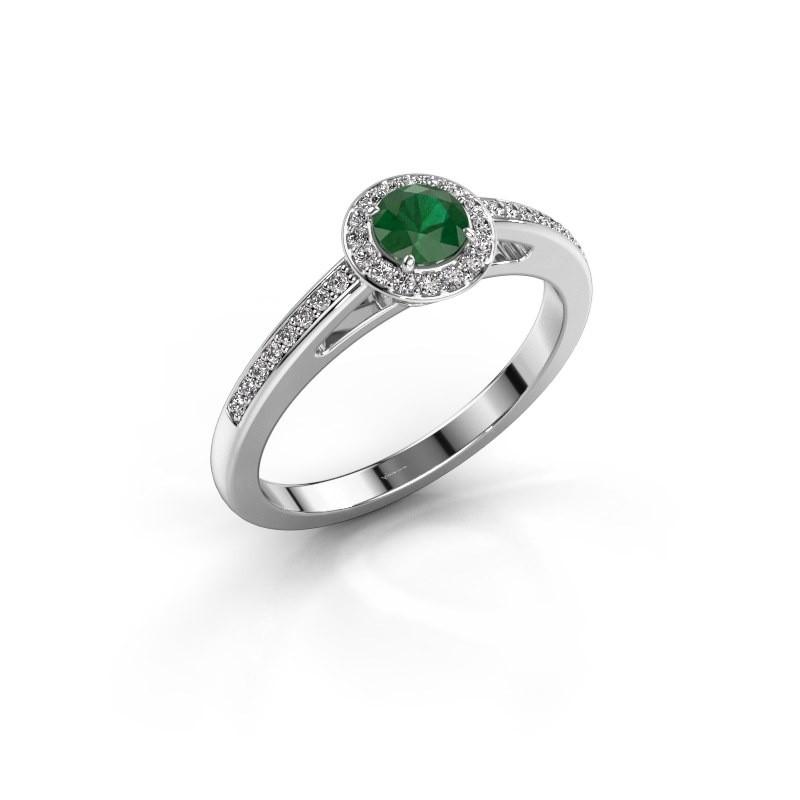 Verlovingsring Aaf 950 platina smaragd 4.2 mm