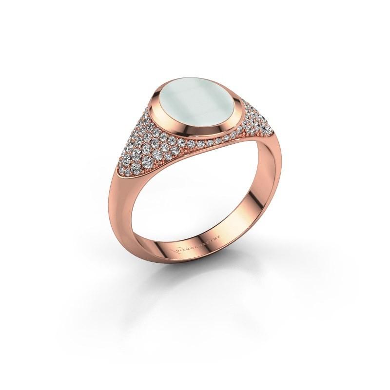 Signet ring Susana 375 rose gold green sardonyx 10x8 mm