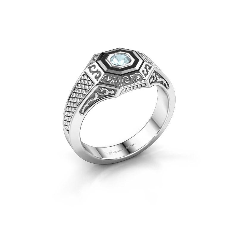 Men's ring Dion 375 white gold aquamarine 4 mm