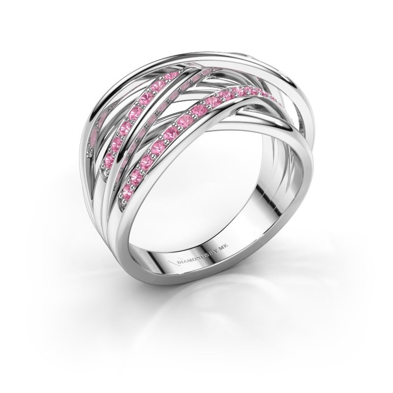 Ring Fem 2 585 white gold pink sapphire 1.5 mm
